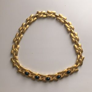 80s Matte Gold & Black Stone Chain Link Necklace